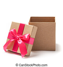 Open Present Box - Stock Photo - Open carton gift box with...