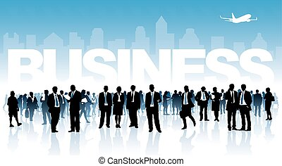 Business - Crowd of businesspeople standing in front of...