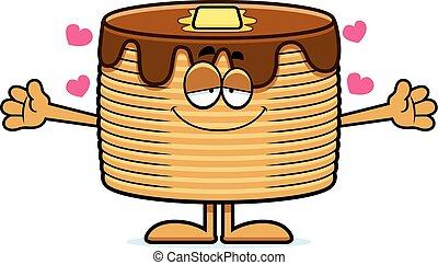 Cartoon Pancakes Hug - A cartoon illustration of a stack of...