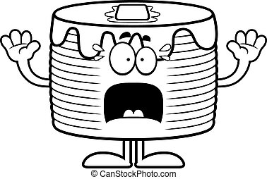 Scared Cartoon Pancakes - A cartoon illustration of a stack...