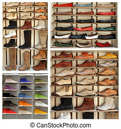 exibition shelves with various leather shoes -...