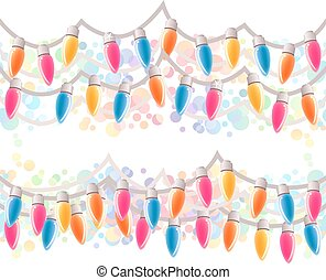 Seamless horizontal Christmas border. Festive garland with...