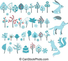 Big set with winter trees and forest animals - wolf,fox,...
