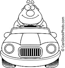 Cartoon Boss Driving Happy - A cartoon illustration of a...