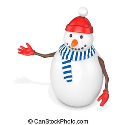3d snowman with hat and scarf on white background