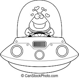 Cartoon Alien UFO Love - A cartoon illustration of an alien...
