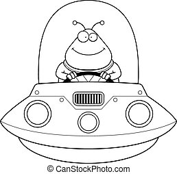 Smiling Cartoon Alien UFO - A cartoon illustration of an...