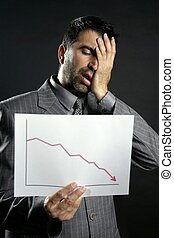 Businessman with bad sales reports chart. Crisis