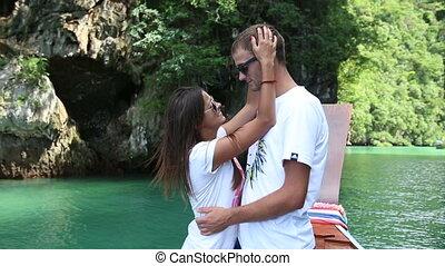 pretty brunette girl with her boyfriend