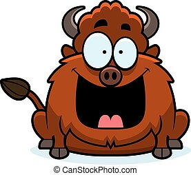 Happy Cartoon Bison - A cartoon illustration of a bison...