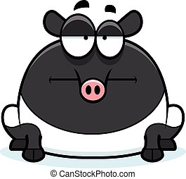 Bored Cartoon Tapir - A cartoon illustration of a tapir...