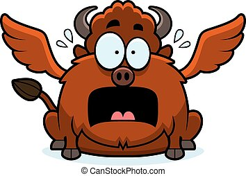 Scared Cartoon Buffalo Wings - A cartoon illustration of a...
