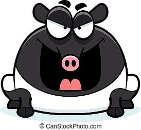 Evil Cartoon Tapir - A cartoon illustration of an evil...