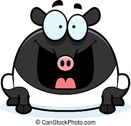 Happy Cartoon Tapir - A cartoon illustration of a tapir...
