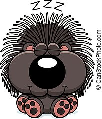 Cartoon Porcupine Napping - A cartoon illustration of a...