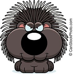 Cartoon Sly Porcupine - A cartoon illustration of a...