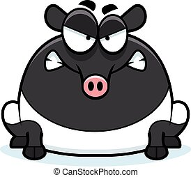 Angry Cartoon Tapir - A cartoon illustration of a tapir...