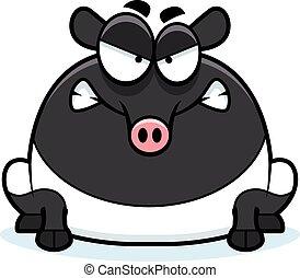 Angry Cartoon Tapir - A cartoon illustration of a tapir...