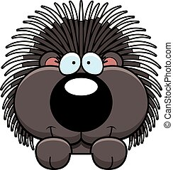 Cartoon Porcupine Peeking - A cartoon illustration of a...