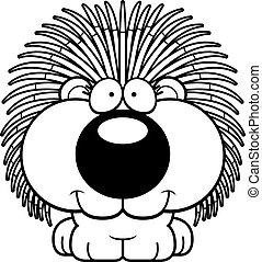 Cartoon Porcupine Smiling - A cartoon illustration of a...