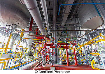 Oil refinery - Pipelines of an oil refinery from the inside....