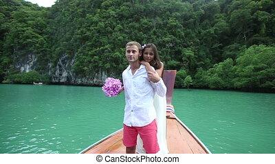 brunette bride with handsome groom