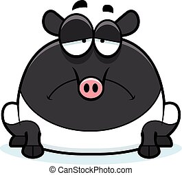 Sad Cartoon Tapir - A cartoon illustration of a tapir...