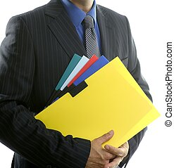 Businessman and color folders over white, yellow, studio...