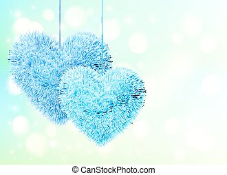Blue fluffy hearts pair greeting card horizontal template -...