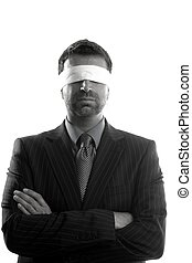 Blindfolded businessman over white background, conceptual...