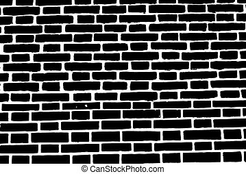 Black brick wall texture background old rough masonry -...