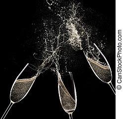 champaña, Flautas, en, negro, Plano de fondo,