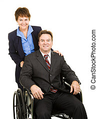 Disabled Businessman and Colleague - Disabled businessman in...