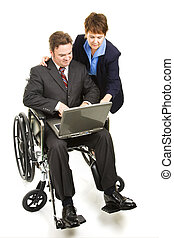 Helping Disabled Businessman - Coworker helps a disabled man...