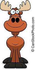 Smiling Cartoon Moose - A cartoon illustration of a moose...