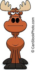 Cartoon Moose Bored - A cartoon illustration of a moose with...