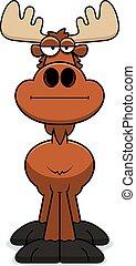 Cartoon Moose Bored - A cartoon illustration of a moose with...