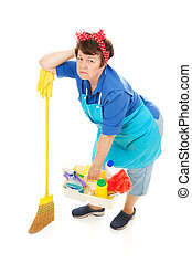Housework is Drudgery - Cleaning lady unhappy and exhausted....