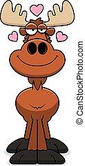 Cartoon Moose Love - A cartoon illustration of a moose with...