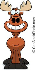 Happy Cartoon Moose - A cartoon illustration of a moose...