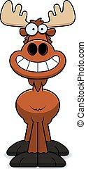 Happy Cartoon Moose - A cartoon illustration of a moose...