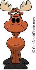 Sad Cartoon Moose - A cartoon illustration of a moose...