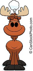 Cartoon Moose Dreaming - A cartoon illustration of a moose...