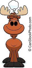 Cartoon Moose Dreaming - A cartoon illustration of a moose...