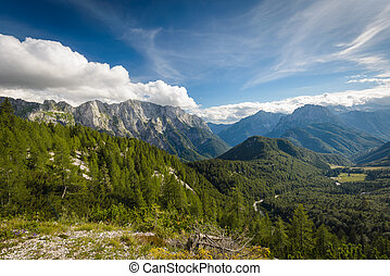 Landscape - Alps mountains tranquil summer view from Mangart...