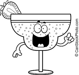 Cartoon Strawberry Daiquiri Idea - A cartoon illustration of...