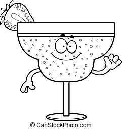 Cartoon Strawberry Daiquiri Waving - A cartoon illustration...
