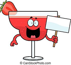 Cartoon Strawberry Daiquiri Sign - A cartoon illustration of...