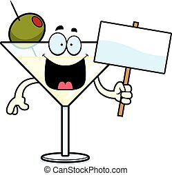Cartoon Martini Sign - A cartoon illustration of a martini...