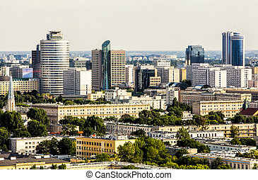 Warsaw - Panorama of warsaw business district. Aerial view...